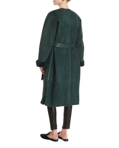 Sabra Belted Shearling Robe Coat