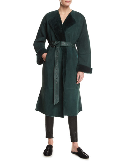 Elizabeth and James Sabra Belted Shearling Robe Coat