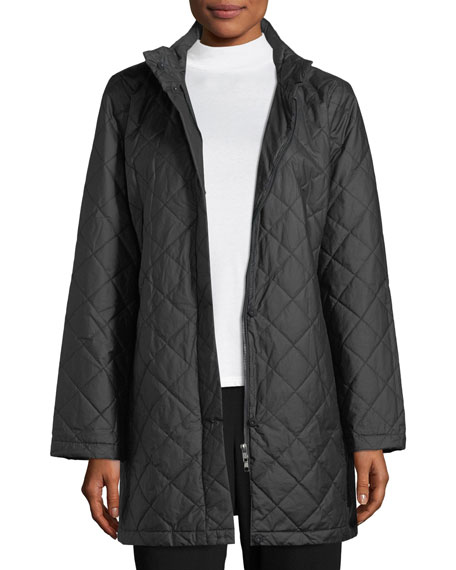 Eileen Fisher Diamond-Quilted Jacket w/ Hood