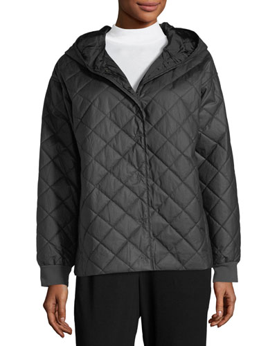 Diamond-Quilted Jacket w/ Hood, Plus Size