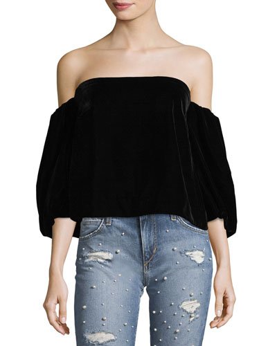 Simmy Off-the-Shoulder Velvet Top
