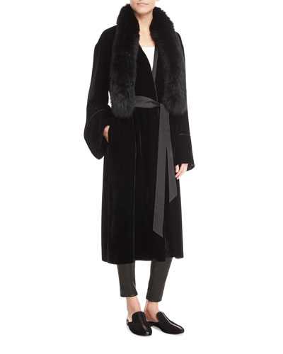Mitzi Open-Front Belted Long Velvet Jacket with Fur