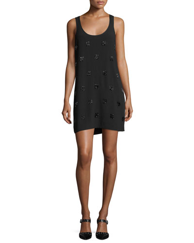 Greene Scoop-Neck Embellished Sleeveless Mini Dress