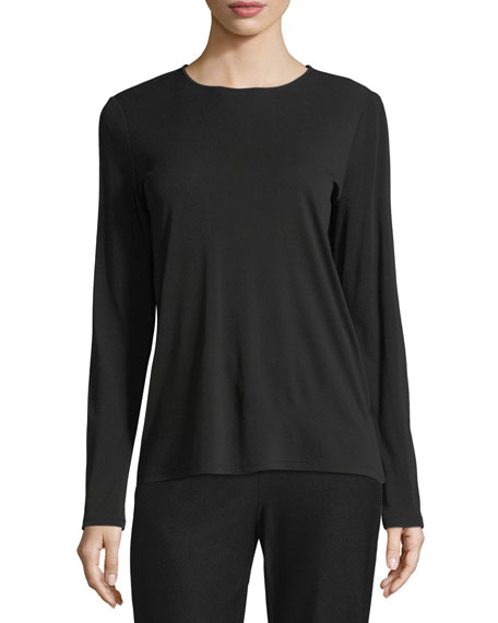 Eileen Fisher Crewneck Stretch Silk Jersey Top