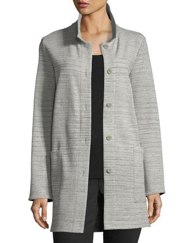 Chevron-Knit Long-Sleeve Jacket, Plus Size