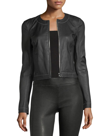 Elizabeth & James Helen Zip-Front Fitted Leather Jacket