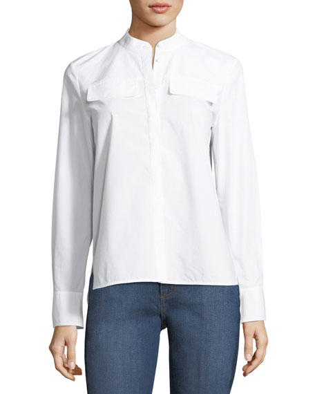 Tory Burch Alisson Poplin Long-Sleeve Blouse