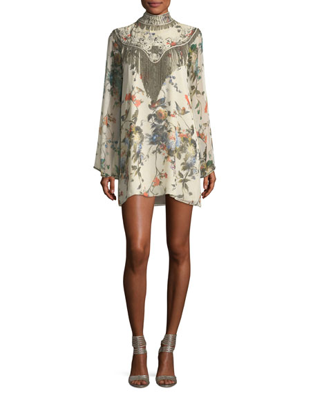 Haute Hippie Through The Looking Glass Bell-Sleeve Floral-Print