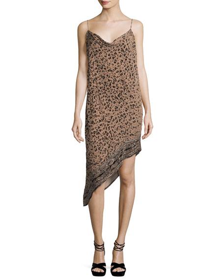 Haute Hippie Sahara Cowl-Neck Asymmetric-Hem Leopard-Burnout