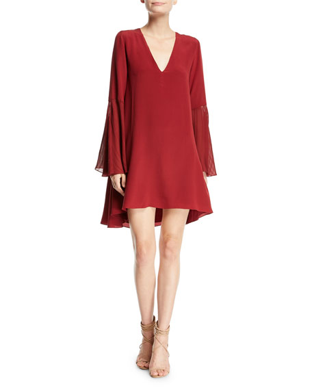 Haute Hippie Manhattan V-Neck Bell-Sleeve A-Line Dress