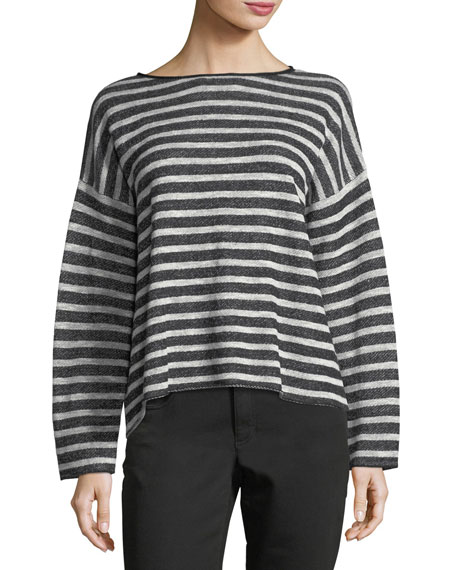 Eileen Fisher Terry Striped Button-Back Box Top