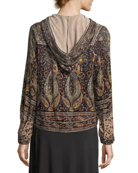 Sahara Hooded Zip-front Beaded Printed Bomber Jacket
