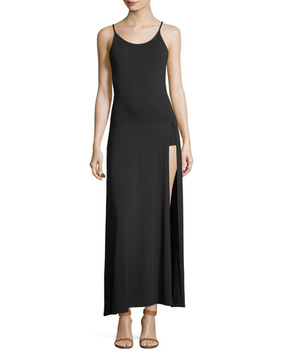 The Slayer Scoop-Neck Sleeveless High-Slit Dress