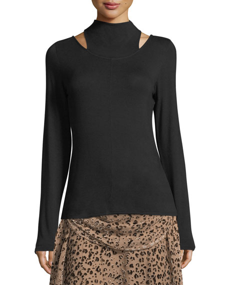 Haute Hippie Halfway There Mock-Neck Long-Sleeve Stretch-Knit Top