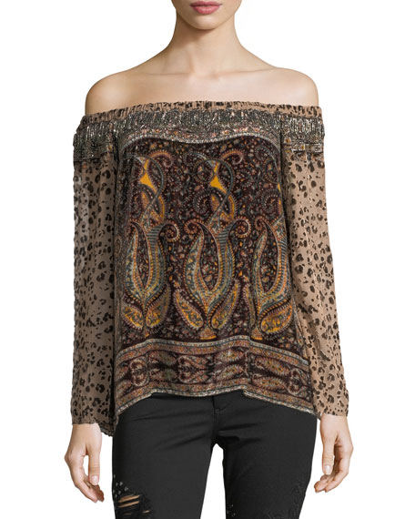 Haute Hippie Sahara Off-the-Shoulder Multi-Printed Beaded Top