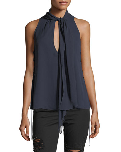 Bouvier Tie-Neck Lace-Sides Silk Halter Top