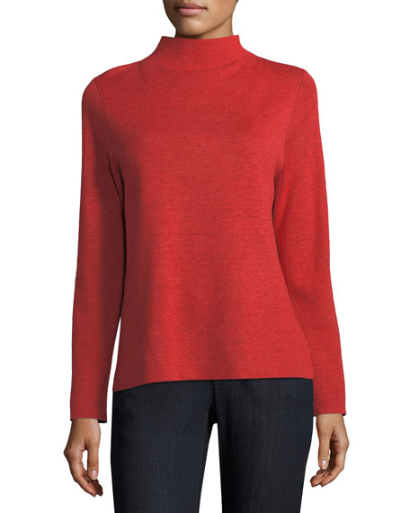Funnel-Neck Box Top, Petite