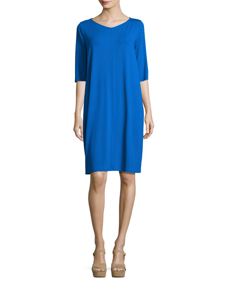Eileen Fisher 3/4-Sleeve V-Neck Jersey Shift Dress