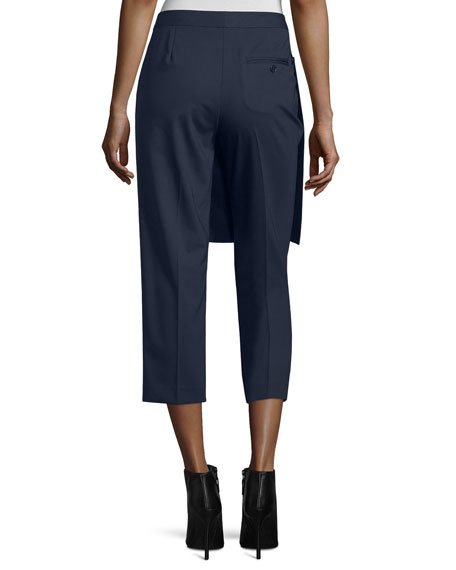 Cropped Apron-Front Pants, Navy