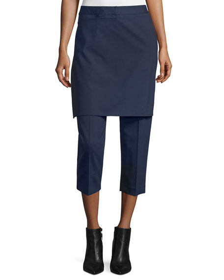 3.1 Phillip Lim Cropped Apron-Front Pants, Navy