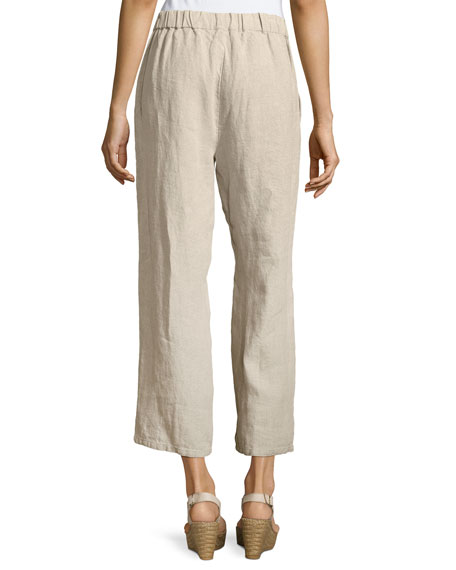 Organic Linen Straight-Leg Ankle Pants