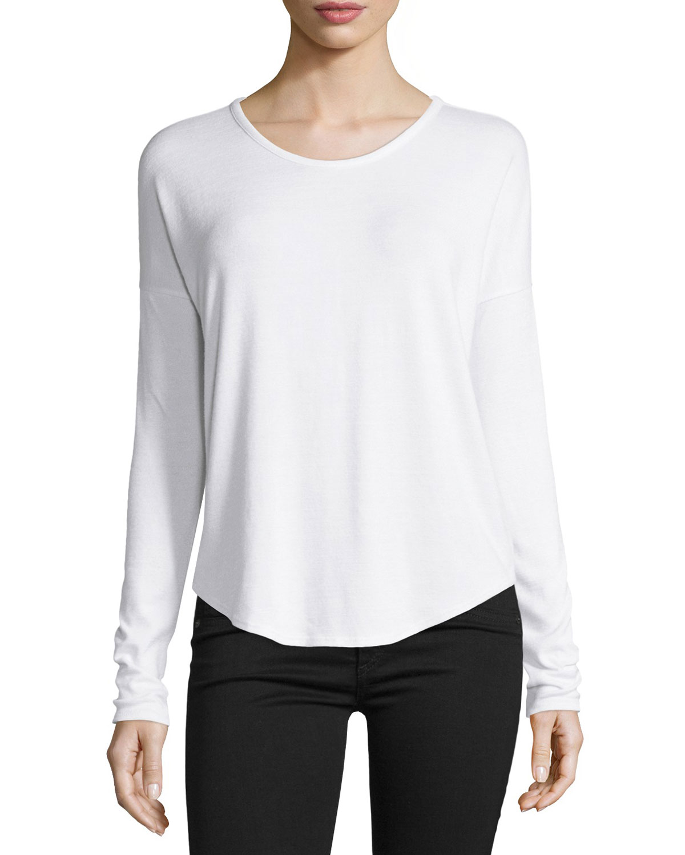 80ee7ea69398 rag & bone/JEAN Hudson Long-Sleeve T-Shirt, White | Neiman Marcus