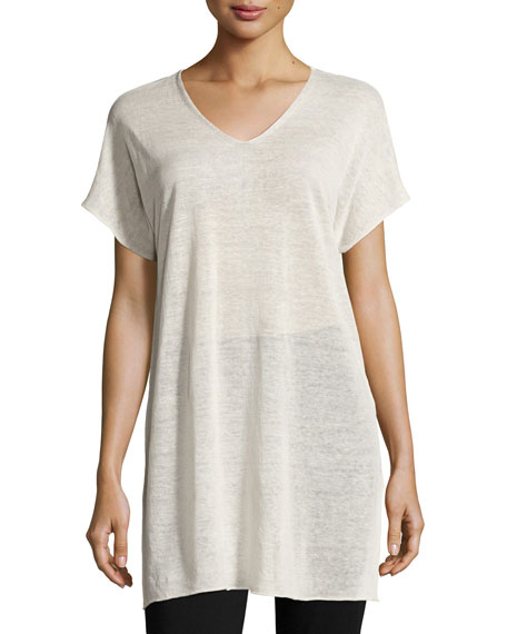 Short-Sleeve Fine Organic Linen Crepe Tunic