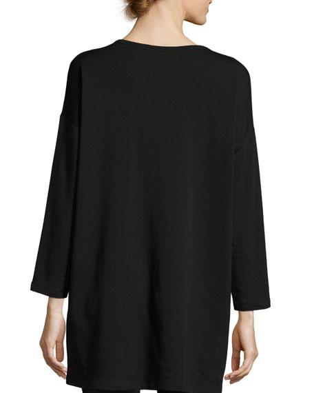 Long-Sleeve Fleece Tunic with Drama Pocket