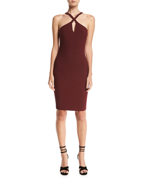 Likely Charles Crossover-Neck Sleeveless Cocktail Dress