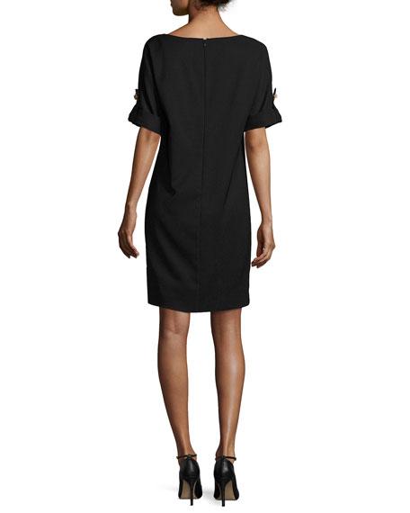 Short-Sleeve Stretch Jersey Cocktail Dress