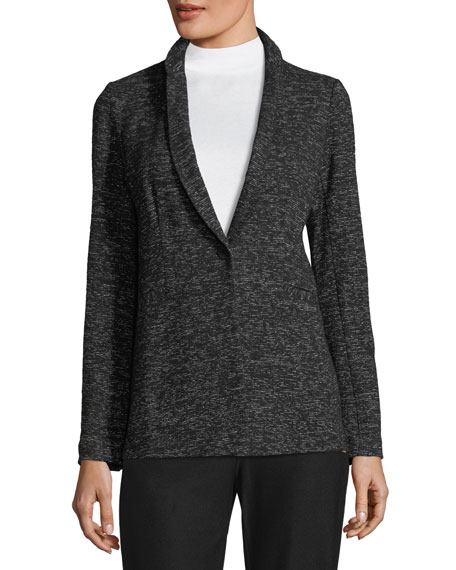 Speckle Cotton-Blend Blazer, Plus Size