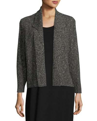 Textured Organic-Linen Boxy Jacket, Petite