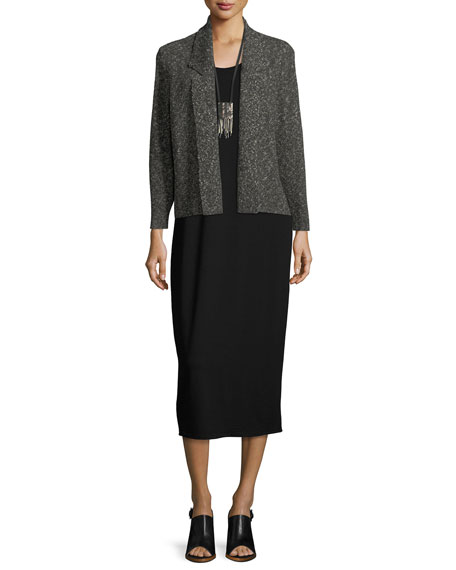 Textured Organic-Linen Boxy Jacket, Plus Size