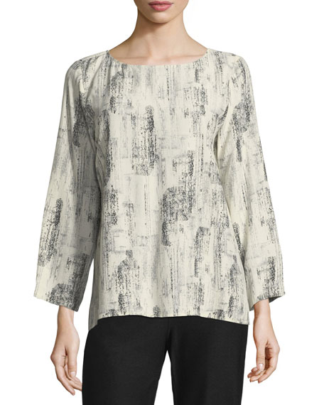 Eileen Fisher Impression-Print Long-Sleeve Top, Petite