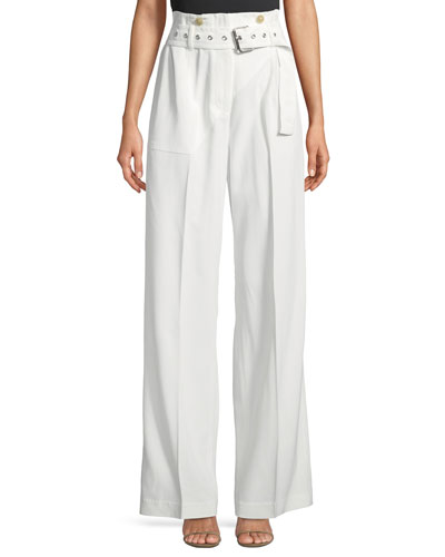Utility Belted High-Waist Cotton Pants