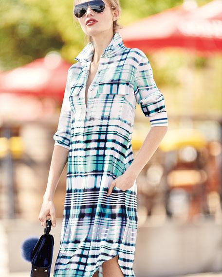 Ombré Plaid Silk-Blend Shirt Dress