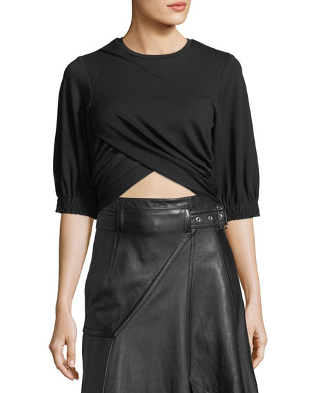 3.1 Phillip Lim Crewneck Short-Sleeve Cropped Twist Tee