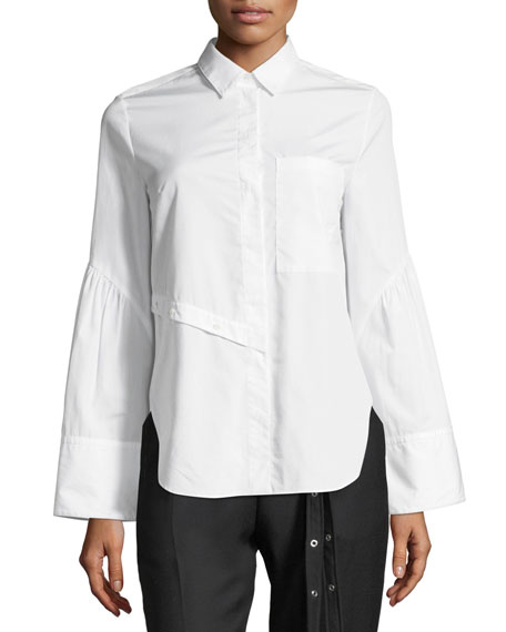 Long-Sleeve Button-Front Asymmetric Poplin Top
