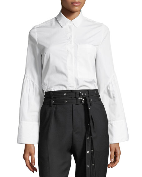 3.1 Phillip Lim Long-Sleeve Button-Front Asymmetric Poplin Top
