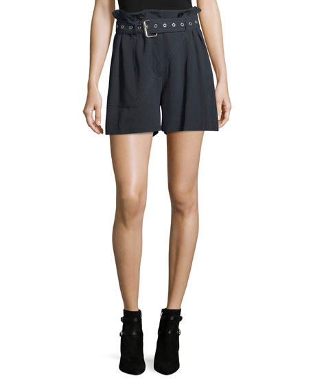 3.1 Phillip Lim High-Waist Belted Pinstriped Utility Shorts