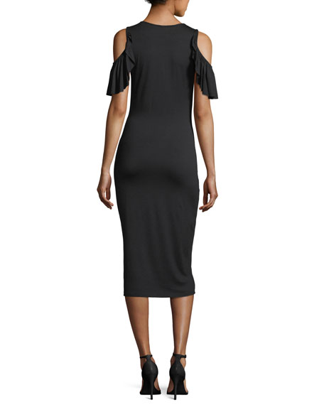 Cosmos Open-Shoulder Fitted Dress, Plus Size