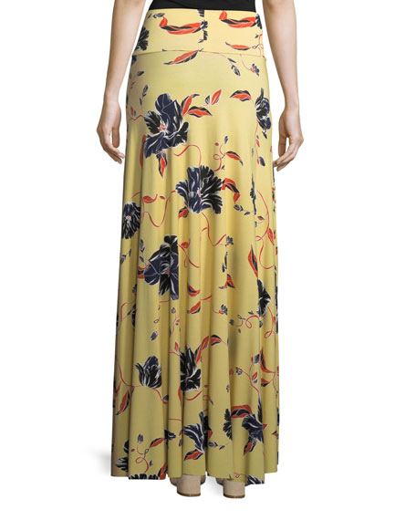 Tulip-Print Long Full Convertible Skirt