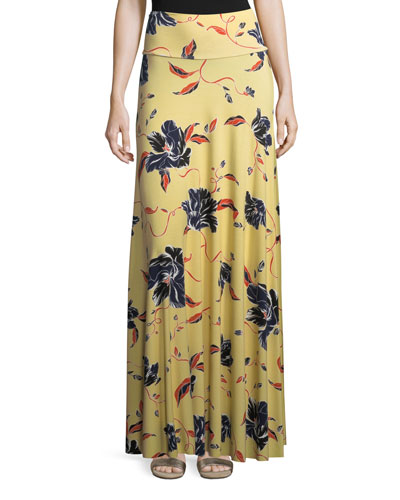 Tulip-Print Long Full Convertible Skirt, Plus Size