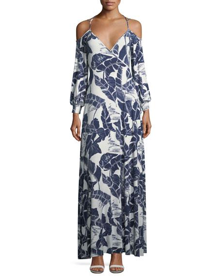 Rachel Pally Dominic Open-Shoulder Palm-Print Dress, Plus Size