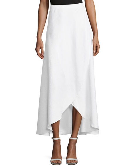 Ballerina Cotton Wrap Long Coverup Skirt, White