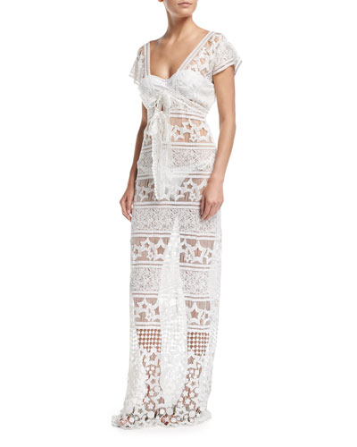Reina Star Sheer Lace Maxi Dress Coverup