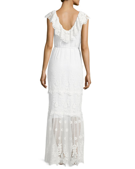 Audrey Mixed-Lace Maxi Dress