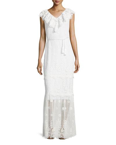 Audrey Mixed-Lace Maxi Dress