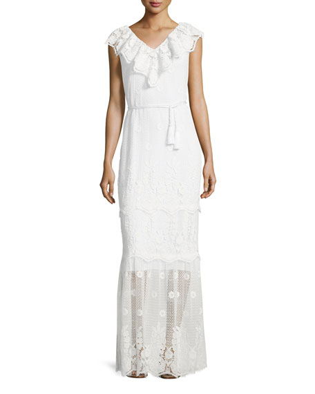 Miguelina Audrey Mixed-Lace Maxi Dress