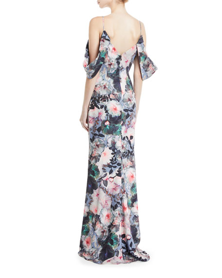 Tie-Sleeve Floral-Print Long Gown